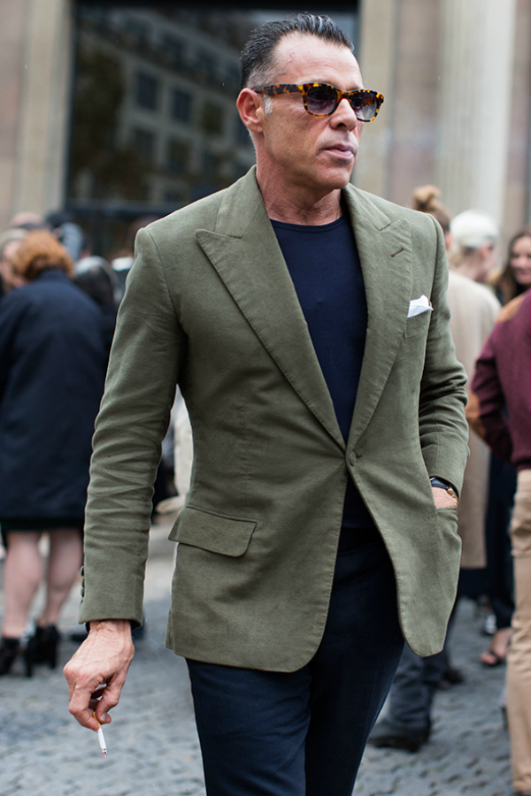 Middle Aged Men S Fashion Green Blazer